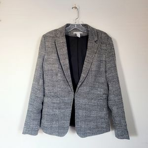H&M blazer pockets glen plaid